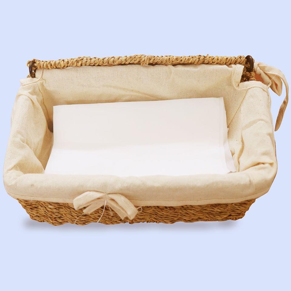 Hộp khăn giấy chữ nhật mây và cói