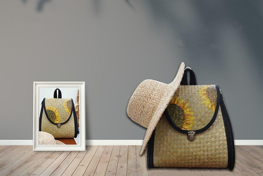 Túi cói tròn mùa hè
