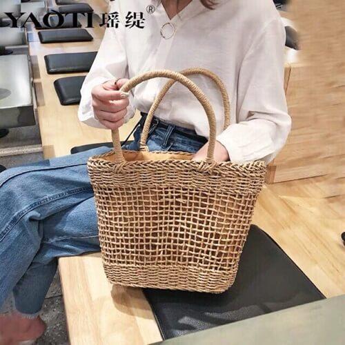 Túi cói đan ô có lót