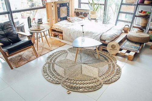 quy trình sản xuất một tấm thảm bèo cói;